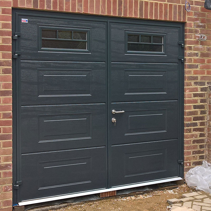 CarTeck Teckentrup Side Hinged Garage Door in Georgian Horizontal with Horizontal Window Multiple Mullion