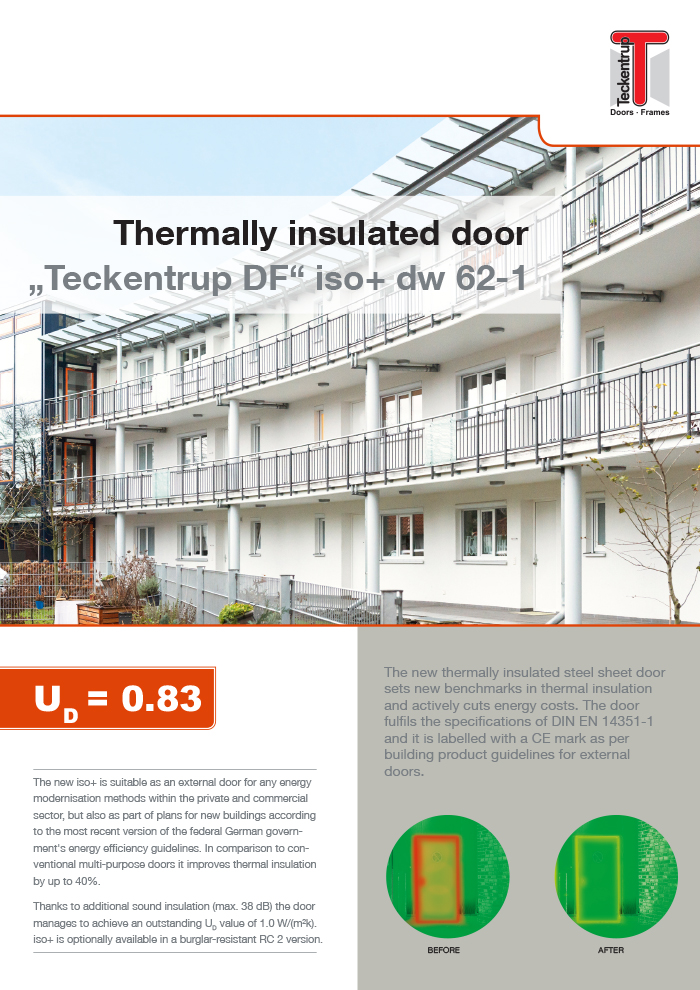 "Thermally Insulated dw 62-1 ""Teckentrup DF"" iso+ (Brochure) cover"