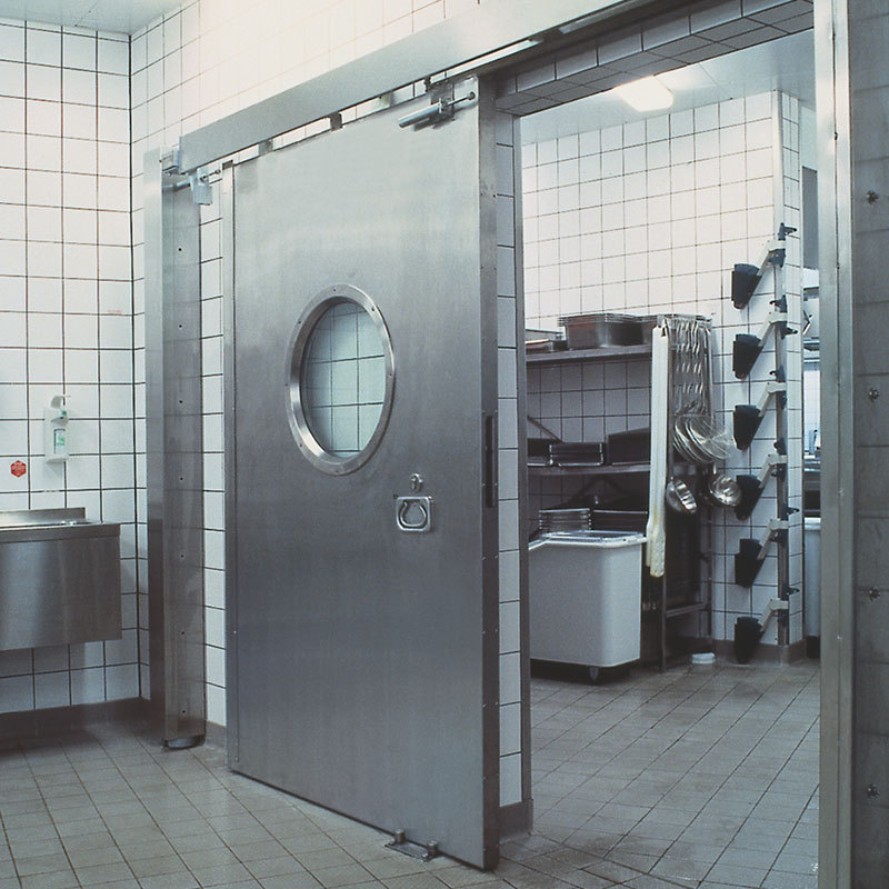 Fire sliding door in a commercial kitchen