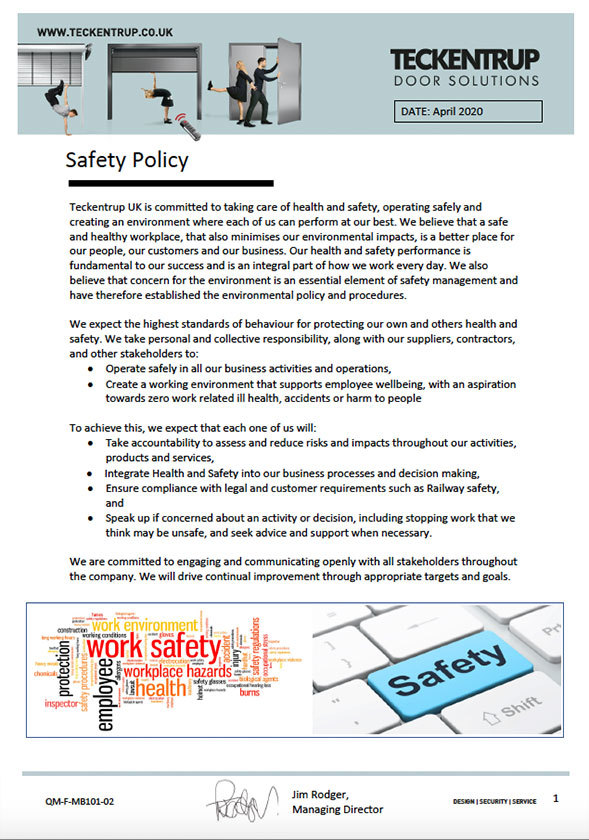 QM F MB101 02_Safety Policy April 2020 cover