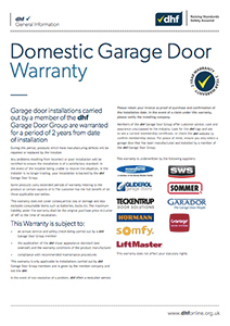 DHF Domestic Garage Door Warranty cover