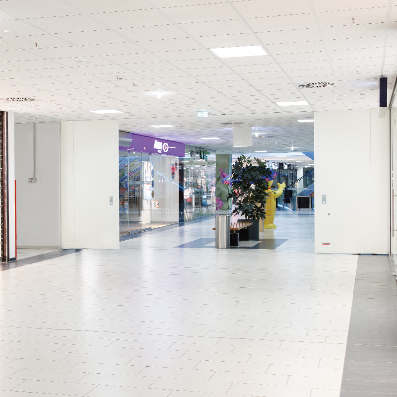 "Fire-resistant Steel Sliding Door T30-2-FSA ""Teckentrup 72 E"" In Shopping Mall"