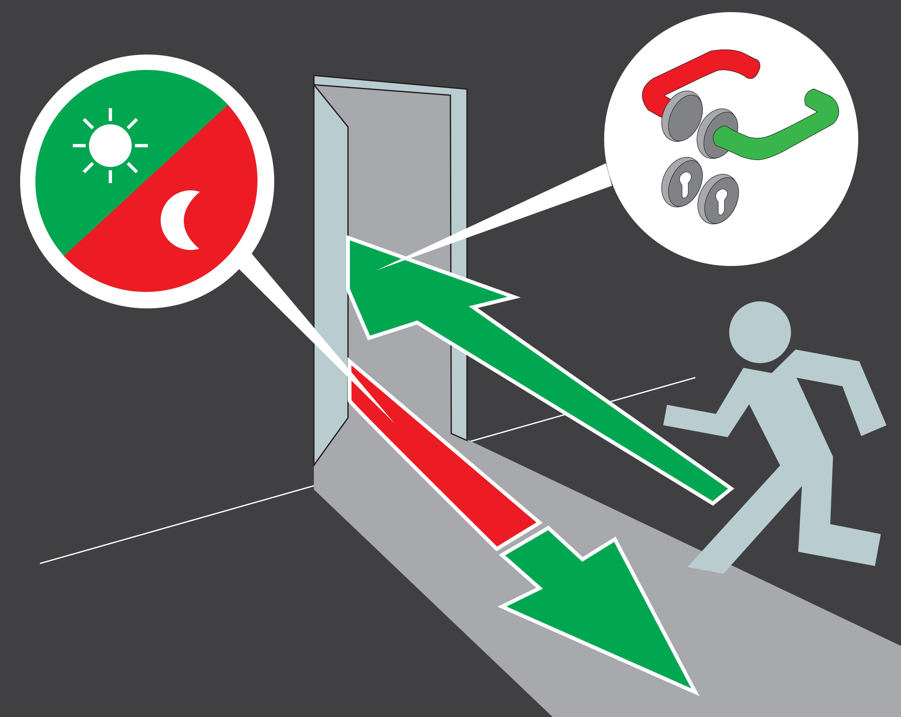 Door exit illustration switchover function