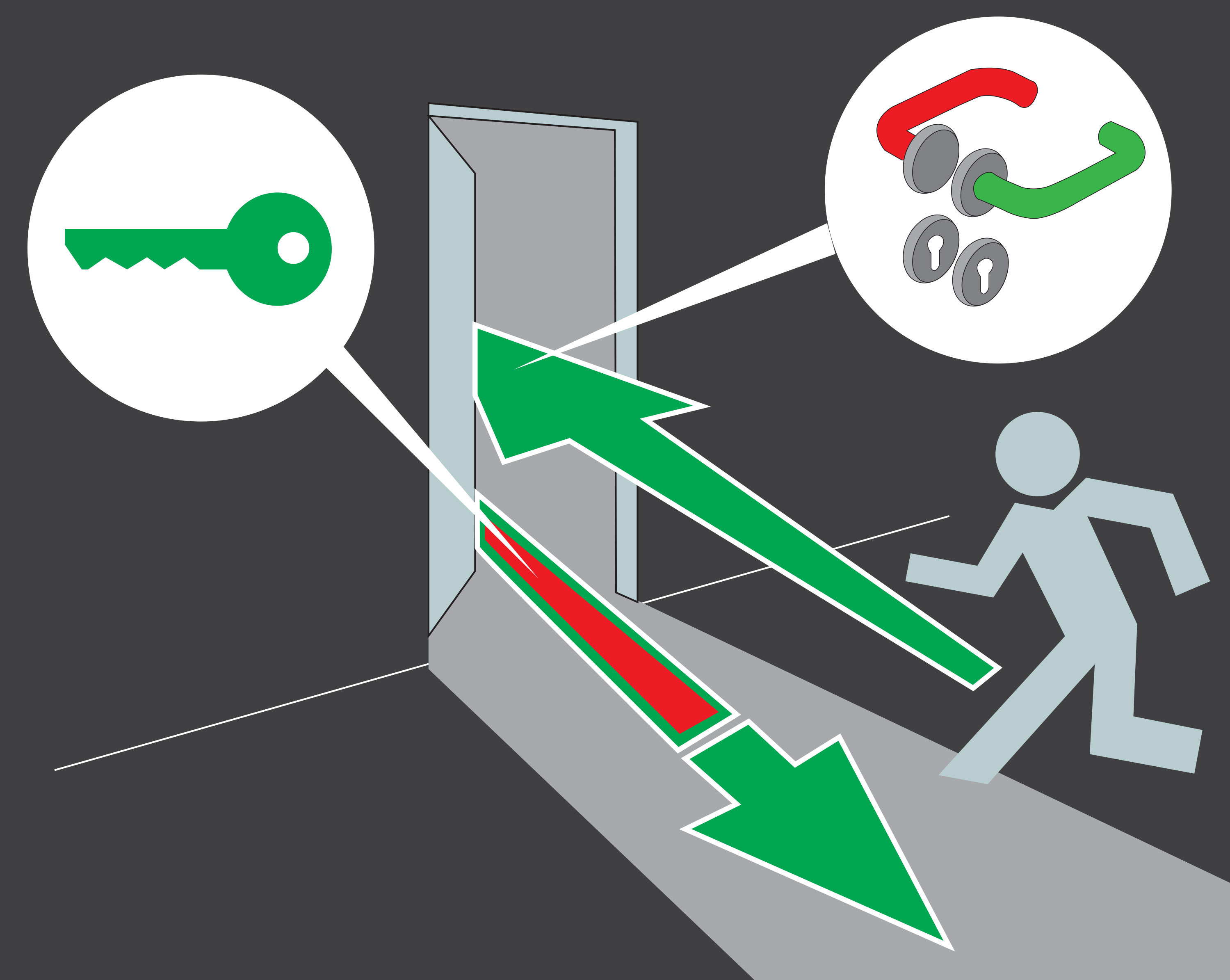 Door exit illustration forced closure function