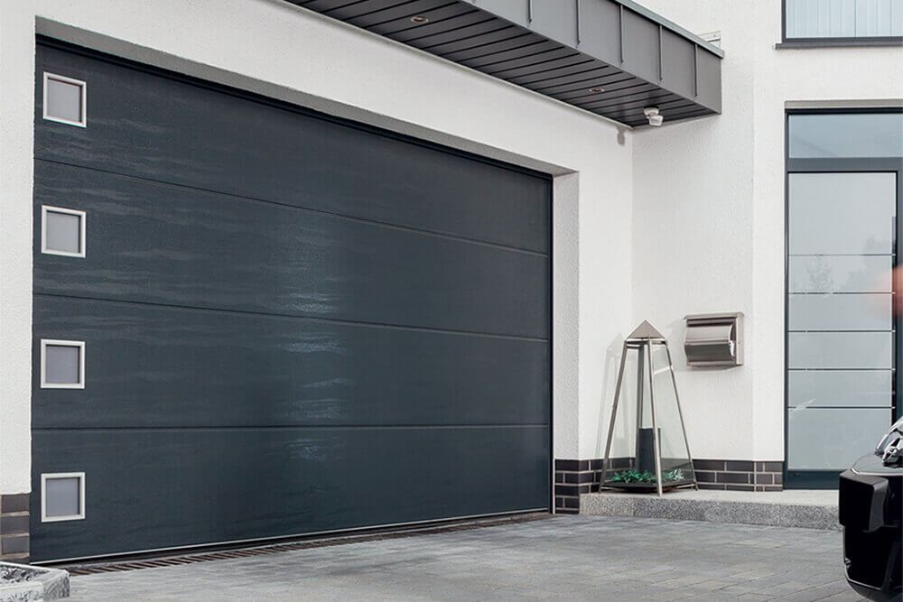 CarTeck Automatic Sectional Garage Door in Solid Design Anthracite Woodgrain with Square Type 1 Windows