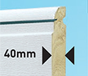 40mm thick - very robust, super strong white, Trend and RAL coloured rigid foam filled panel
