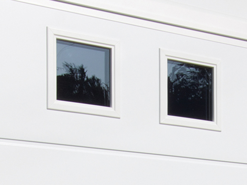 Solid Horizontal - Smooth White with Square White Windows