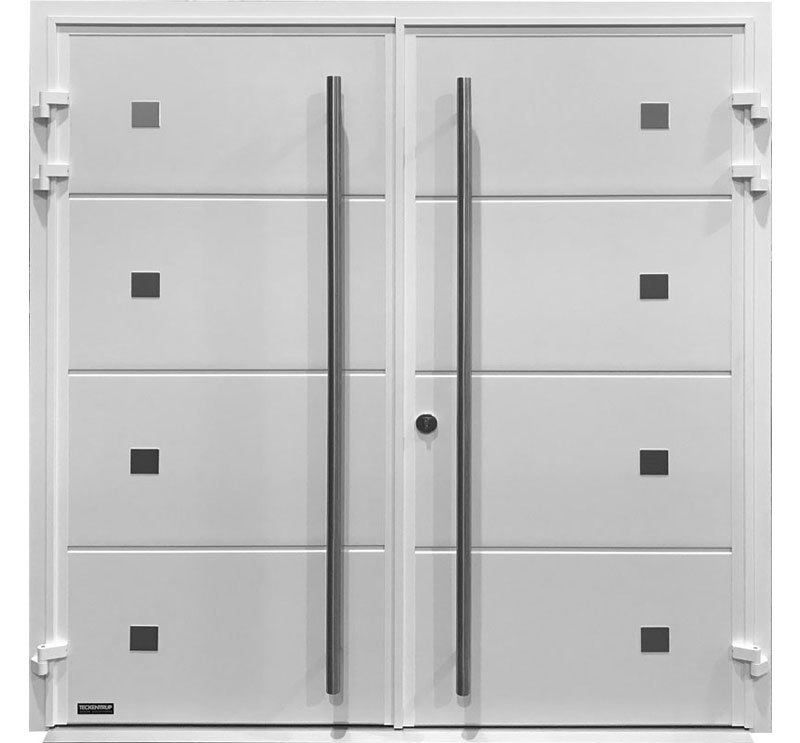 Carteck Side Hinged Solid Horizontal In White Smooth Finish With Twin D Handles And Decorative Features