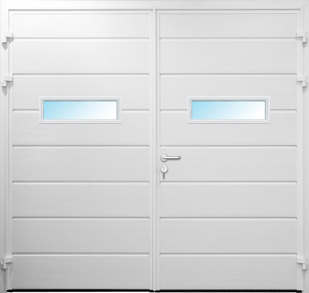 Carteck Side Hinged Horizontal Centre Ribbed Garage Door In White With Type 2 Rectangular Windows