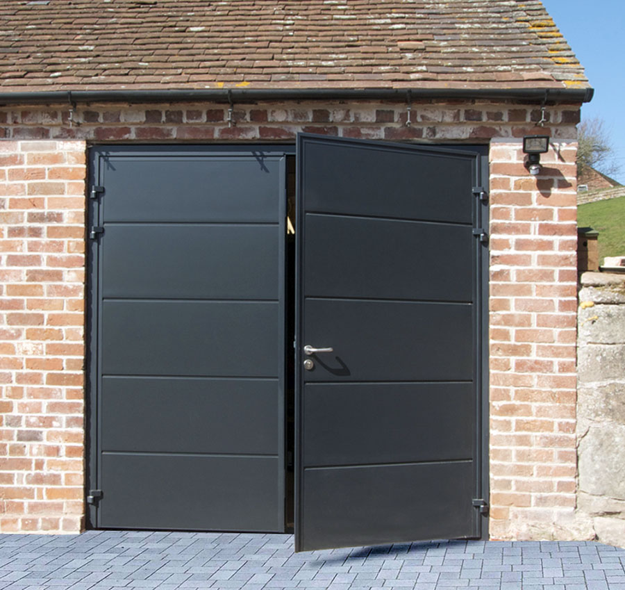 CarTeck Side Hinged Horizontal Solid Garage Door In Smooth Anthracite Grey
