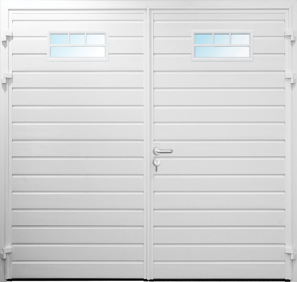 CarTeck Side Hinged Horizontal Standard Ribbed Garage Door In White With Multiple Mullion Windows