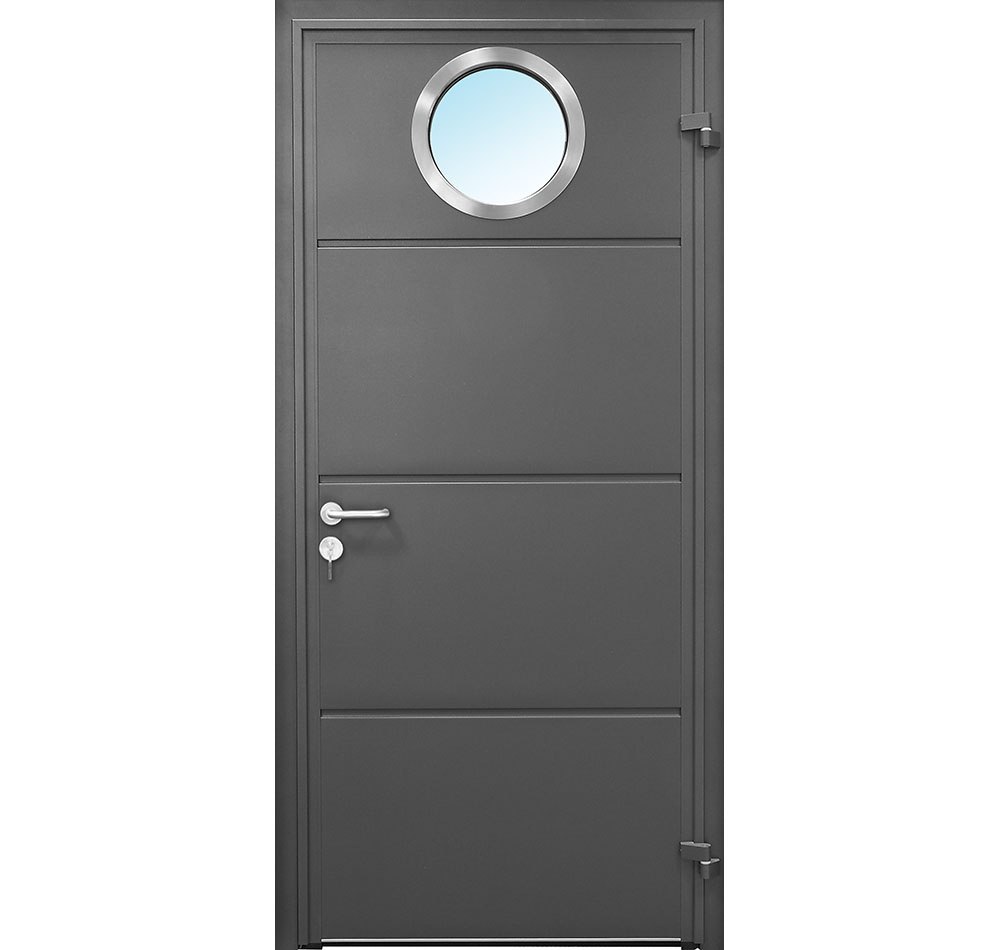 CarTeck Side Hinged Solid Personnel Door Anthracite Grey With Teckentrup Bling Zeta Window ø280mm