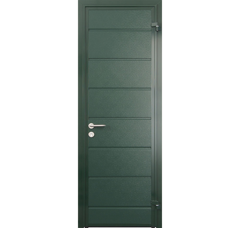 CarTeck Side Hinged Centre Rib Personnel in Door Moss Green Woodgrain Finish