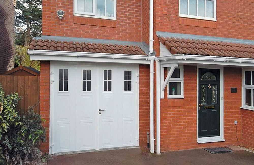CarTeck Side Hinged White Vertical Georgian Garage Door With Cross Mullion Windows