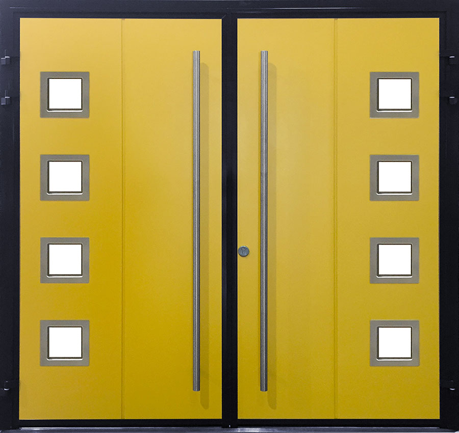 CarTeck Side Hinged Solid Vertical In Custom Yellow With Type 1 Square Windows And Stainless Steel Pull Handles