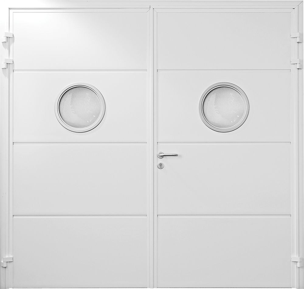 CarTeck Side Hinged Solid Horizontal With Porthole Windows