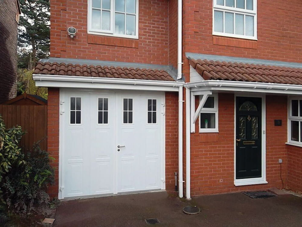 Side Hinged Garage Door in Georgian Vertical Design in White with Vertical Cross Mullion Windows