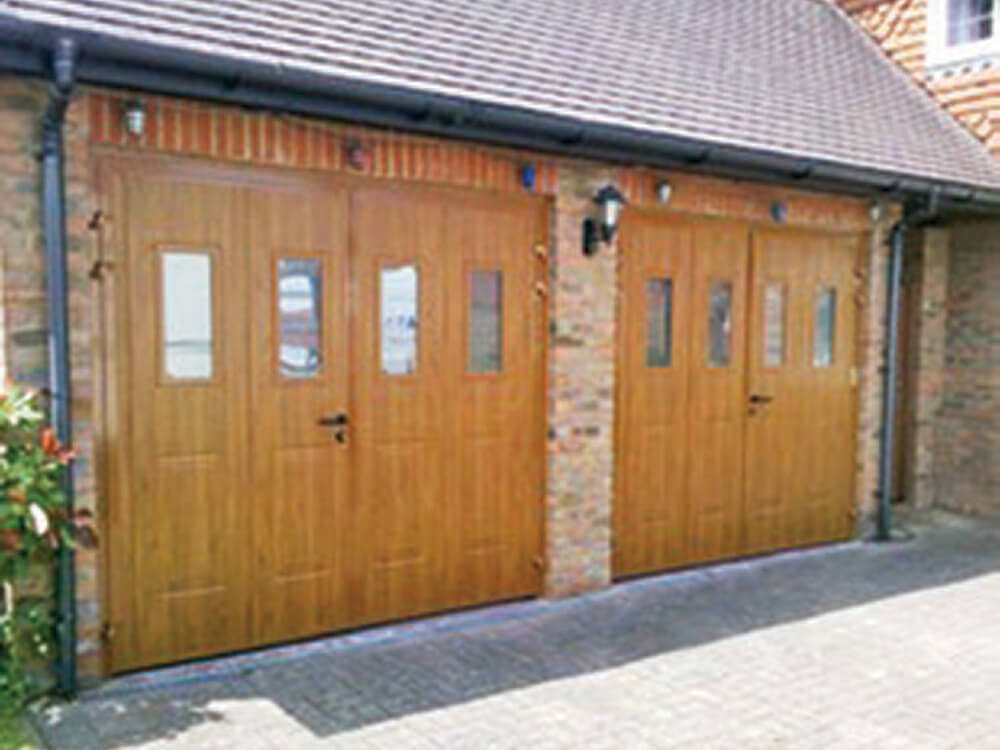 Side Hinged Garage Door Georgian Vertical Design in Woodgrain Wood Effect Golden Oak with Vertical Type 1 Windows