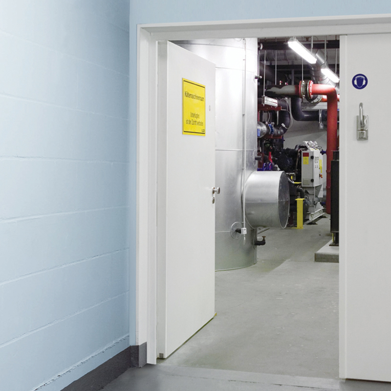 Double Steel Acoustic Soundproofing Doors At The Entrance To A Plant Room