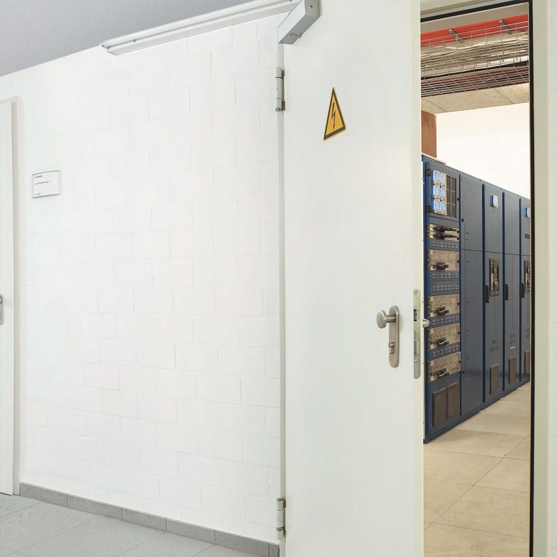 Single Steel Acoustic Soundproofing Doors At The Entrance To An Electrical Plant Room