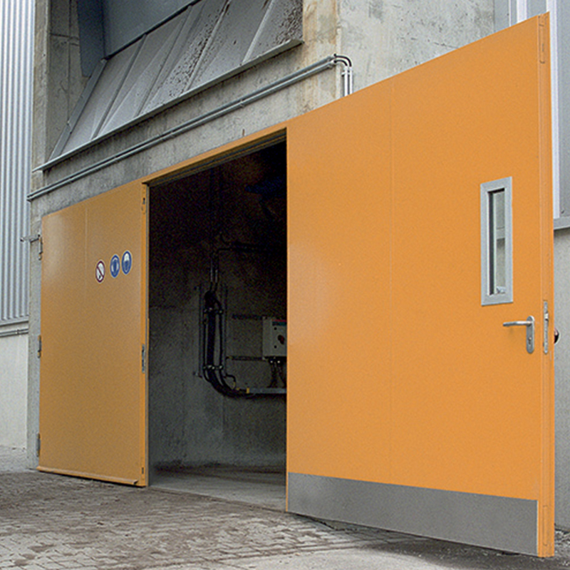 Very Large Double Steel Doors With Vision Panels