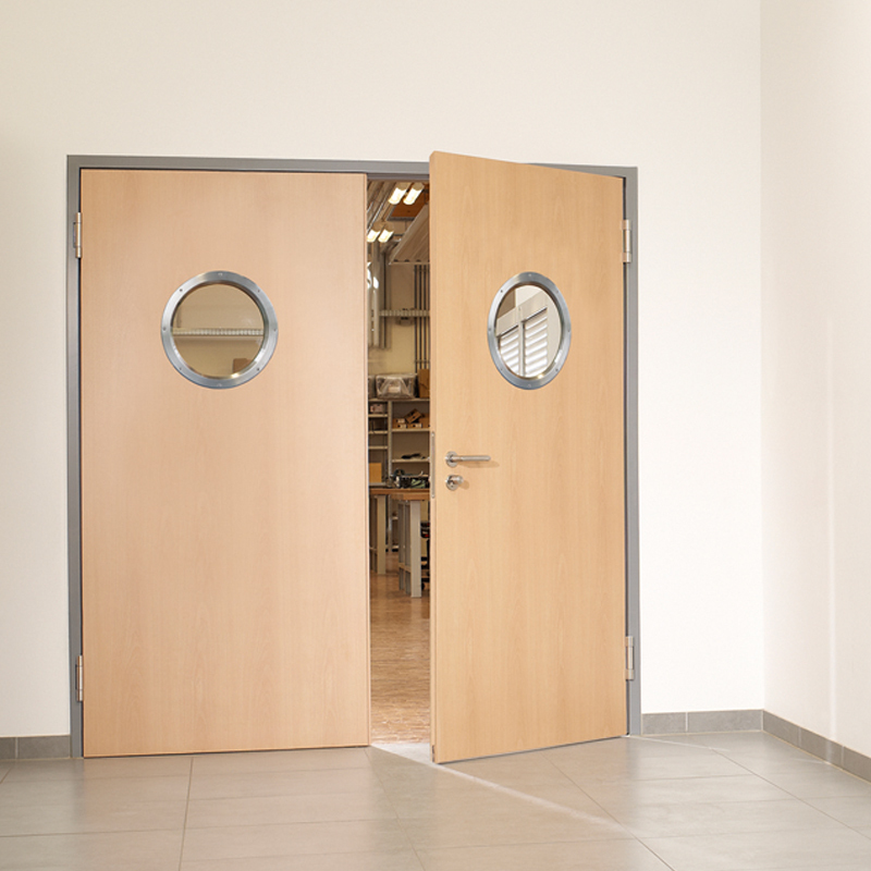 Double Steel Security Doors With Porthole Vision Panels And Custom Finish